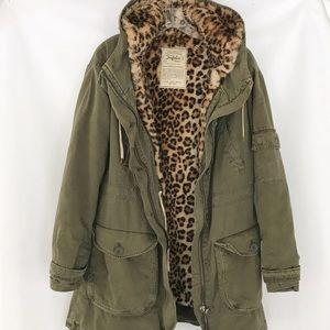 Zara Trafaluc Leopard Faux Fur Lined Parka Coat XS